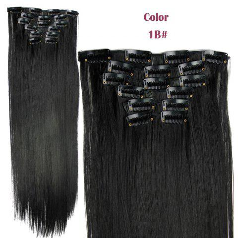 New Long Straight Clip-In Heat Resistant Synthetic Hair Extension Suit For Women - 1B#  Mobile