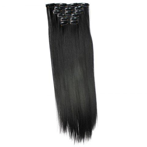 Shop Long Straight Clip-In Heat Resistant Synthetic Hair Extension Suit For Women - 1B#  Mobile