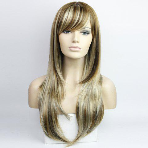 Unique Western Style Side Bang Layered Long Wavy Mixed Color Synthetic Hair Women's Capless Wig