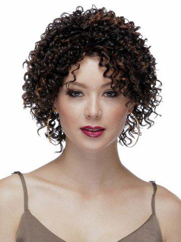 Trendy Highlights Synthetic Hair None Bang  Attractive Stylish Capless Women's Short Curly Afro Wig COLORMIX