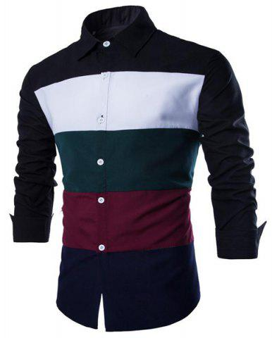Buy Trendy Shirt Collar Multicolor Splicing Slimming Long Sleeve Cotton Blend Shirt For Men