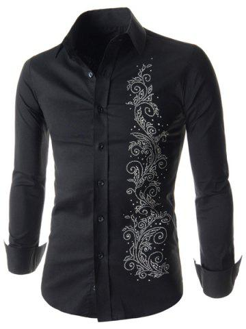 Hot Refreshing Fitted Turn-down Collar Beads Embellished Long Sleeves Men's Cotton Blend Shirt BLACK L