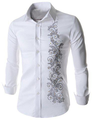 Refreshing Fitted Turn-down Collar Beads Embellished Long Sleeves Men's Cotton Blend Shirt - White - M