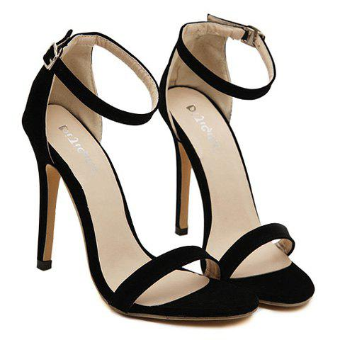 Outfits Suede Ankle Strap Stiletto High Heel Sandals - 37 BLACK Mobile