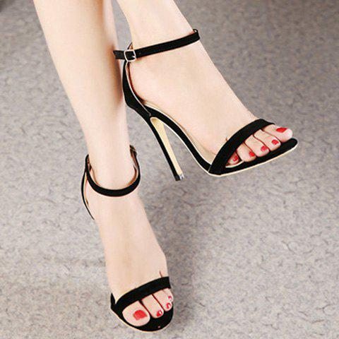 Latest Suede Ankle Strap Stiletto High Heel Sandals - 37 BLACK Mobile
