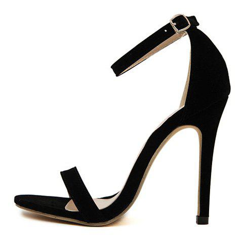 New Suede Ankle Strap Stiletto High Heel Sandals - 37 BLACK Mobile