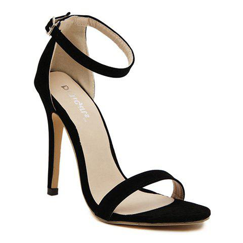 Laconic Suede and Stiletto Design Women's Sandals - BLACK 36