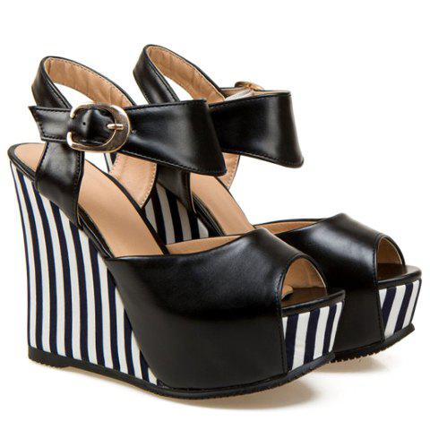 Outfits Stylish Striped and Peep Toe Design Women's Wedge Sandals