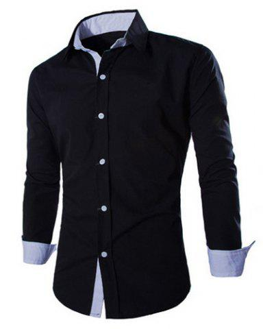 Sale Fashion Shirt Collar Fitted Two Color Splicing Long Sleeve Polyester Shirt For Men