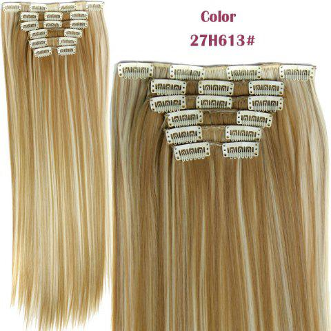 Unique Long Straight Clip-In Heat Resistant Synthetic Hair Extension Suit For Women H