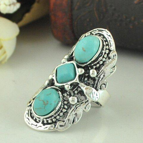 Shop Retro Turquoise Decorated Ring For Women - ONE-SIZE GREEN Mobile