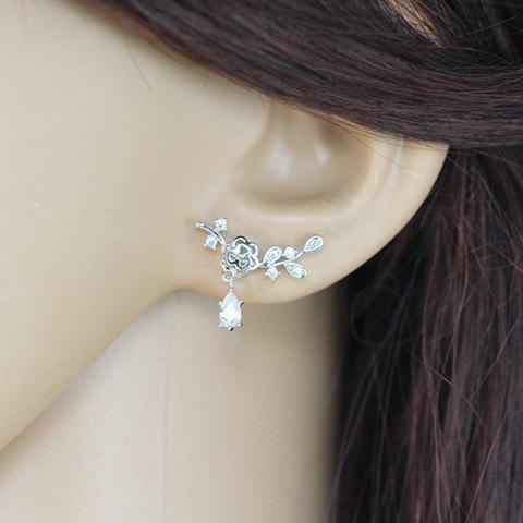 Shop Pair of Fresh Delicate Rhinestone Floral Earrings For Women