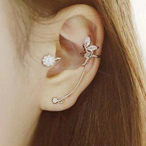 Fancy ONE PIECE Characteristic Rhinestone Embellished Angle's Wing Shape Ear Cuff For Women SILVER