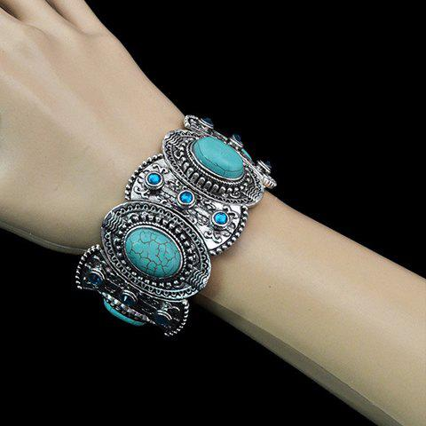 Best Fake Turquoise Decorated Oval Shape Bracelet SILVER