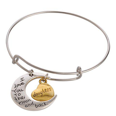 Outfit Moon Heart Engraved Letter Charm Bracelet SILVER