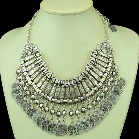 Shops Ethnic Multilayered Coin Shape Fringed Necklace SILVER GRAY
