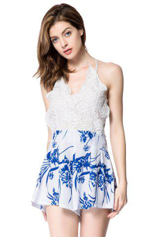 Sale Stylish Plunging Neck Sleeveless Floral Print Backless Women's Romper - L WHITE Mobile