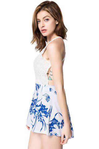 Online Stylish Plunging Neck Sleeveless Floral Print Backless Women's Romper - L WHITE Mobile