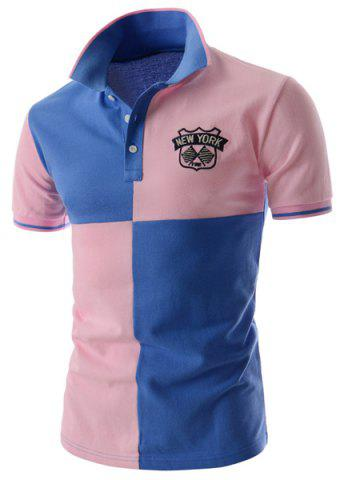 Latest Two Tone Graphic Polo T-Shirt BLUE/PINK 2XL