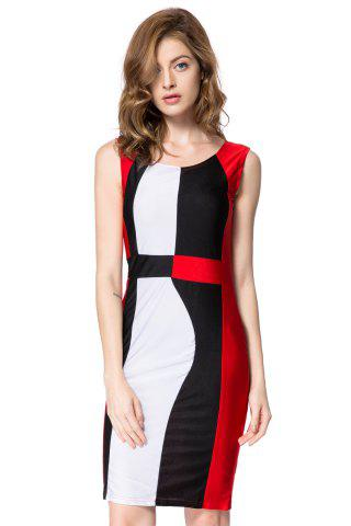 New Trendy Sleeveless Scoop Neck Color Block Pullover Women's Dress RED L