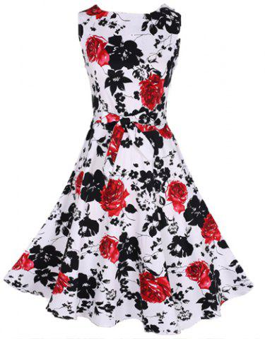 Discount Round Collar Sleeveless Floral Midi Skater Dress