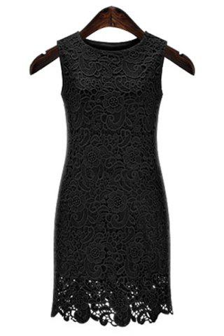 Outfit Sexy Round Neck Sleeveless Solid Color Cut Out Women's Lace Dress