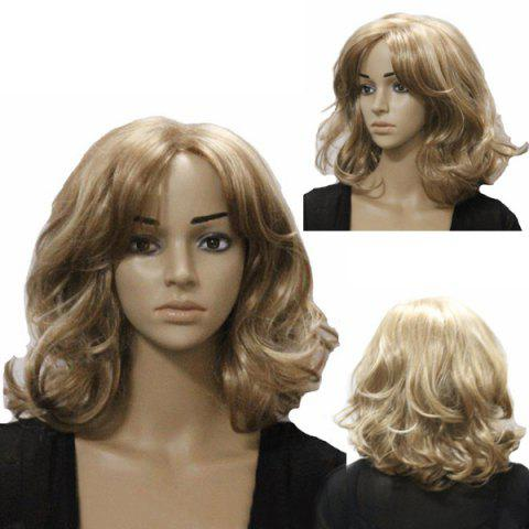 Hot Western Style Charming Fluffy Medium Length Wavy Centre Parting Synthetic Capless Women's Blonde Wig
