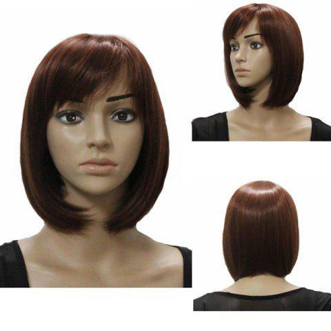 Cheap Charming Short Straight Bob Side Bang Stylish Synthetic Brown Capless Wig For Women