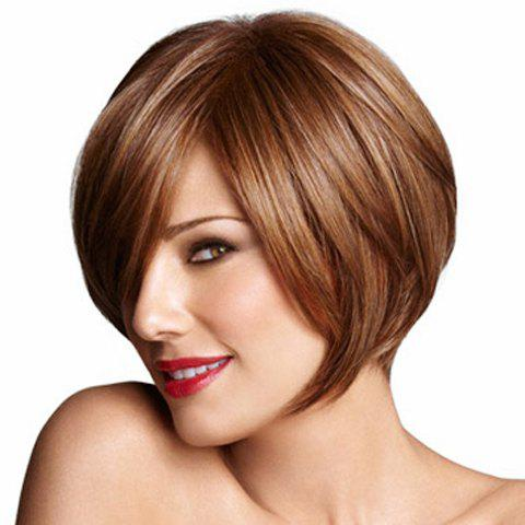 Fancy Popular Short Hairstyle Side Bang Fluffy Straight Capless Heat-Resistant Women's Brown Bob Wig