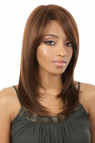 Fancy Sweet Style Side Bang Layered Long Natural Straight Brown Capless Women's Synthetic Hair Wig