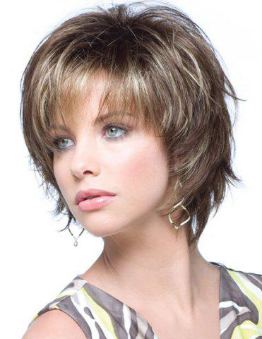 Latest Fashion Towheaded Side Bang Charming Short Curly Synthetic Capless Wig For Women