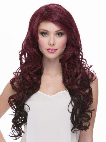 Fancy Gorgeous Long Hairstyle Side Bang Heat-Resistant Fluffy Wavy Women's Vogue Ombre Wig