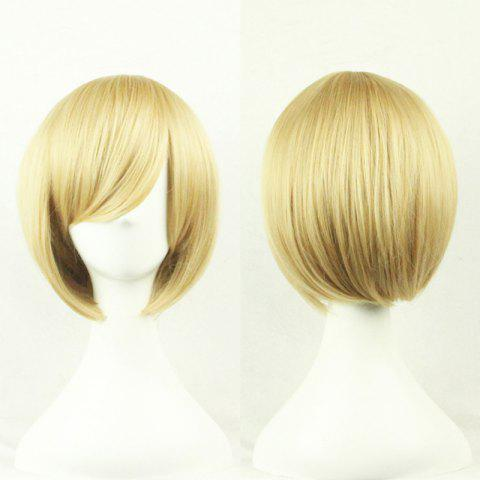 Shop Top Quality Side Bang 24CM Shaggy Short Straight Prevailing Bob Hairstyle Cosplay Wig LIGHT GOLD