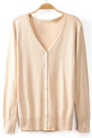 Stylish V-Neck Long Sleeve Buttoned Solid Color Cardigan For Women - APRICOT 2XL