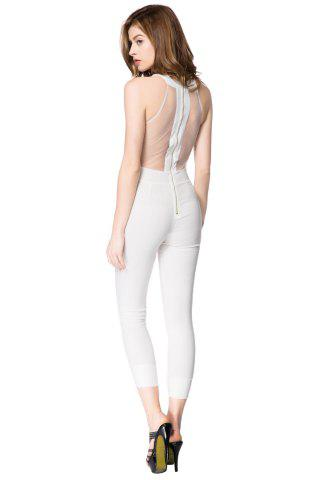 Outfits Sleeveless Mesh Bodycon Jumpsuit - L WHITE Mobile