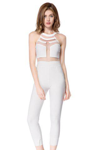 Buy Sleeveless Mesh Bodycon Jumpsuit WHITE L