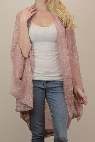 Outfit Chic Peony Print Voile Fringed Kimono Scarf For Women