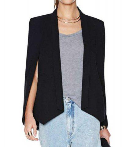 Stylish Shawl Collar Long Sleeve Furcal Women's Blazer - Black - L