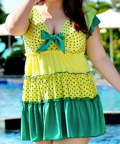 Outfits Stylish Plus Size Polka Dot Design Flouced One-Piece Women's Swimwear GREEN 5XL