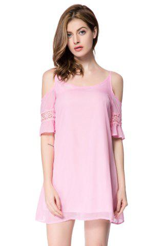 Chic Casual Spaghetti Strap 3/4 Sleeve Backless Solid Color Women's Dress PINK L