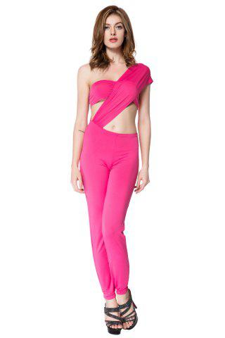Sale Sexy One Shoulder Solid Color Jumpsuit For Women PINK S