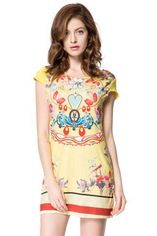 Unique Stylish Scoop Collar Short Sleeve Floral Print Women's Dress YELLOW S