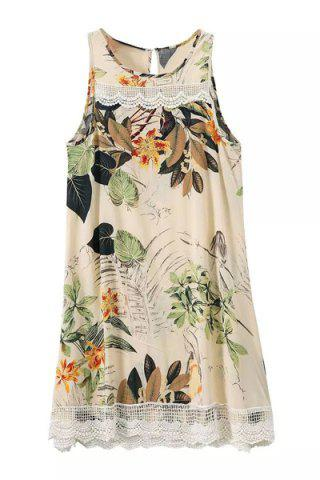 Latest Ethnic Style Sleeveless Floral Print Lace Splicing Dress For Women