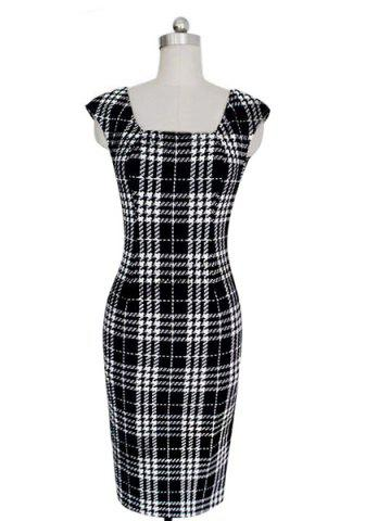 Shop Stylish Square Neck Sleeveless Plaid Bodycon Dress For Women WHITE AND BLACK M