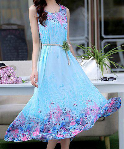 Cheap Stylish Scoop Neck Sleeveless Floral Print Chiffon Women's Dress