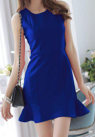 Shops Elegant Round Neck Sleeveless Solid Color Flounced Women's Dress