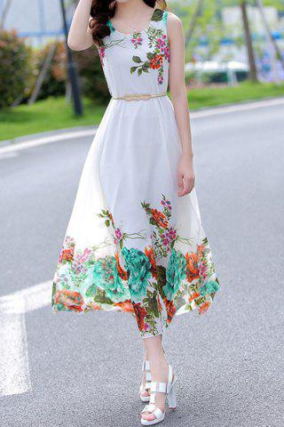Chic Fashionable Scoop Collar Sleeveless Floral Print Women's Chiffon Dress