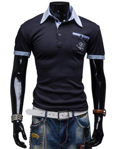 Sale Fashion Turndown Collar Slimming Color Block Splicing Embroidered Short Sleeve Polyester Polo T-Shirt For Men CADETBLUE 2XL