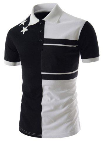Personality Color Splicing Turn-down Collar Fitted Short Sleeves Men's Polyester Polo T-Shirt - White And Black - 2xl