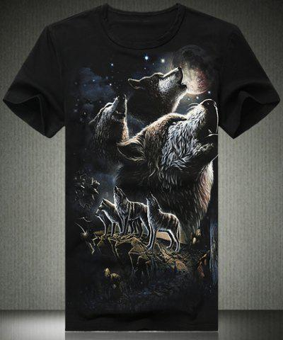 Summer Necessary Fitted Round Neck Evil Wolf Valley 3D Print Plus Size Short Sleeves Men's T-Shirt - BLACK 5XL